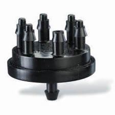 XB106 - Multi-Outlet Xeri-Bug - 6 Outlet, Barb Inlet, 1.0 GPH, Black