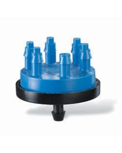 XB056 - Multi-Outlet Xeri-Bug - 6 Outlets, Barb Inlet, 0.5 GPH, Blue