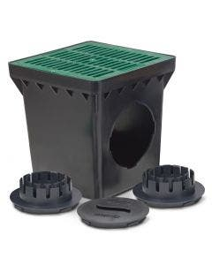 DB12KITG - 12 Inch Drainage Basin Kit with 2 Outlets, 12 Inch Flat Green Grate and Adapters