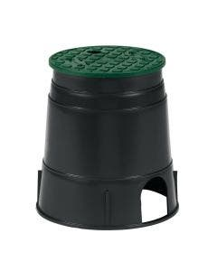 PVB6RND - 6 in. Round PVB Valve Box - Black Body & Overlapping Green Lid