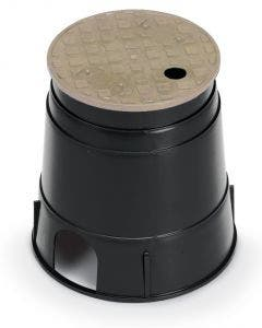PVB6RNDT - 6 in. Round PVB Valve Box - Black Body & Overlapping Tan Lid