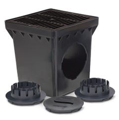 DB12KITB - 12 Inch Drainage Basin Kit with 2 Outlets, 12 Inch Flat Black Grate and Adapters