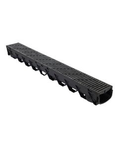 "DCD1MX4B – 4"" Deep Shallow Channel Drain, 40"", Black Grate"