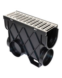 """DCDPIT5SS – 5"""" Deep Channel Drain Pit, Stainless Steel Grate"""