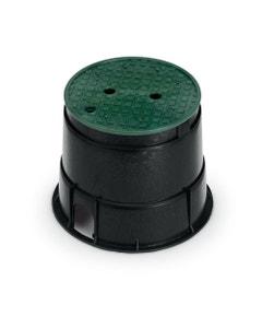 PVB10RND - 10 in. Round PVB Valve Box - Black Body & Overlapping Green Lid