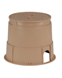 PVB10RNDT - 10 in. Round PVB Valve Box - Tan Body & Overlapping Tan Lid