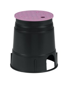 PVB6RNDP - 6 in. Round PVB Valve Box - Black Body & Overlapping Purple Lid